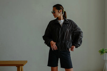 BLACK RUCHED WINDBREAKER *BEST BUY*