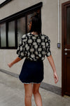 BLACK SILKY PATTERNED SHIRT *BEST BUY*