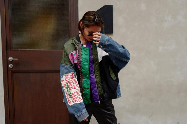 ( BEIGE / GREEN ) PATCHWORK MA1 DENIM JACKET *MUST BUY*