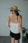 White Low Back Tie Up Linen Vest *BEST BUY*