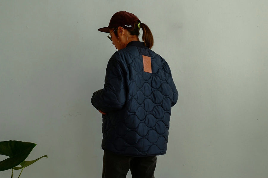 // KARNANA MEN // NAVY LEATHER TAG QUILTED JACKET *BEST BUY*