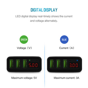 LED Display 3 USB Fast Charger