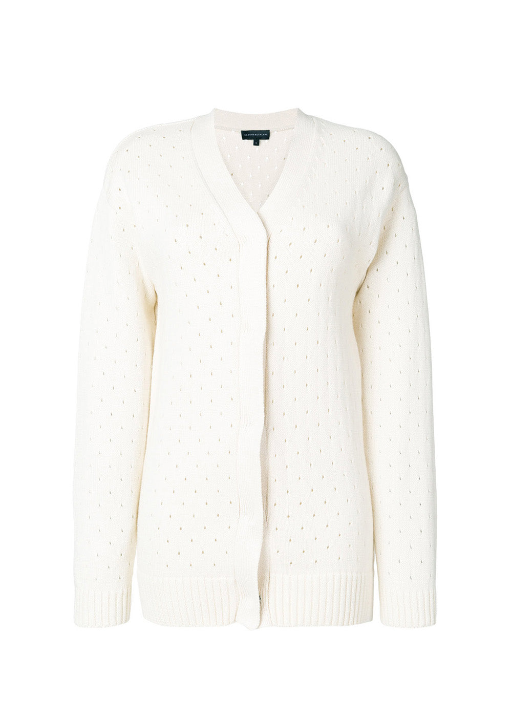 012d1fa32 OFF WHITE OVERSIZED CASHMERE CARDIGAN WITH PERFORATED PATTERN ...