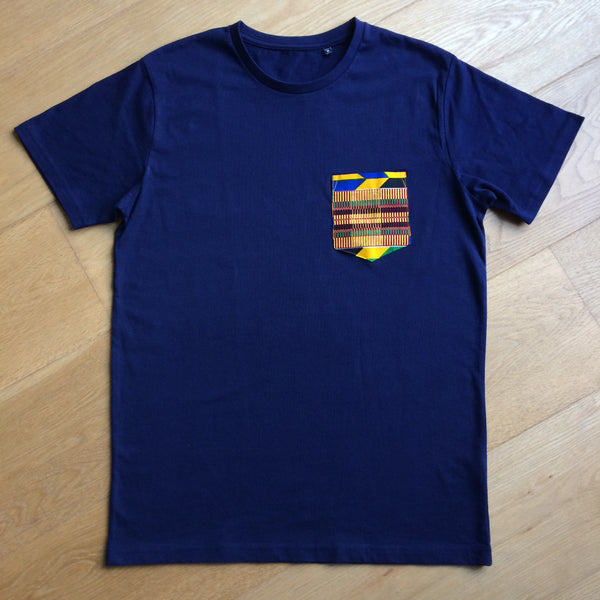 Navy T-shirt with Colourful Wax Pocket