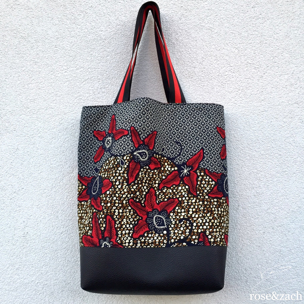 Colourful Reusable Shopping bag - wax print and vegan leather