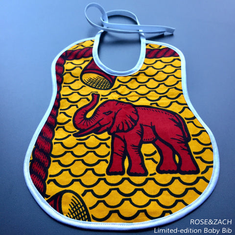 "Colourful baby bib - ""Elephant"" print"