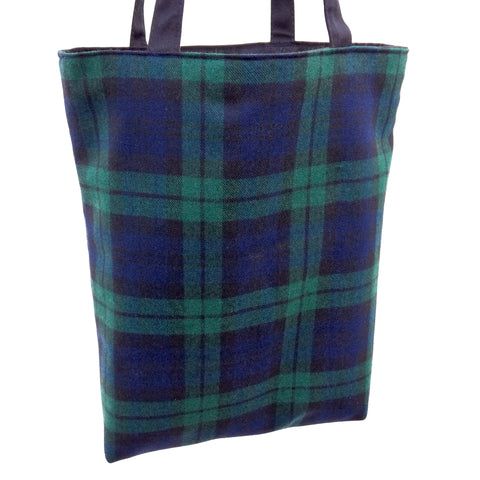 Colourful Small Shopping Bag - Wool Check Print
