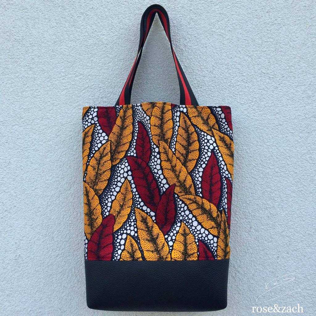 Colourful Shopping Bag - wax print & vegan leather