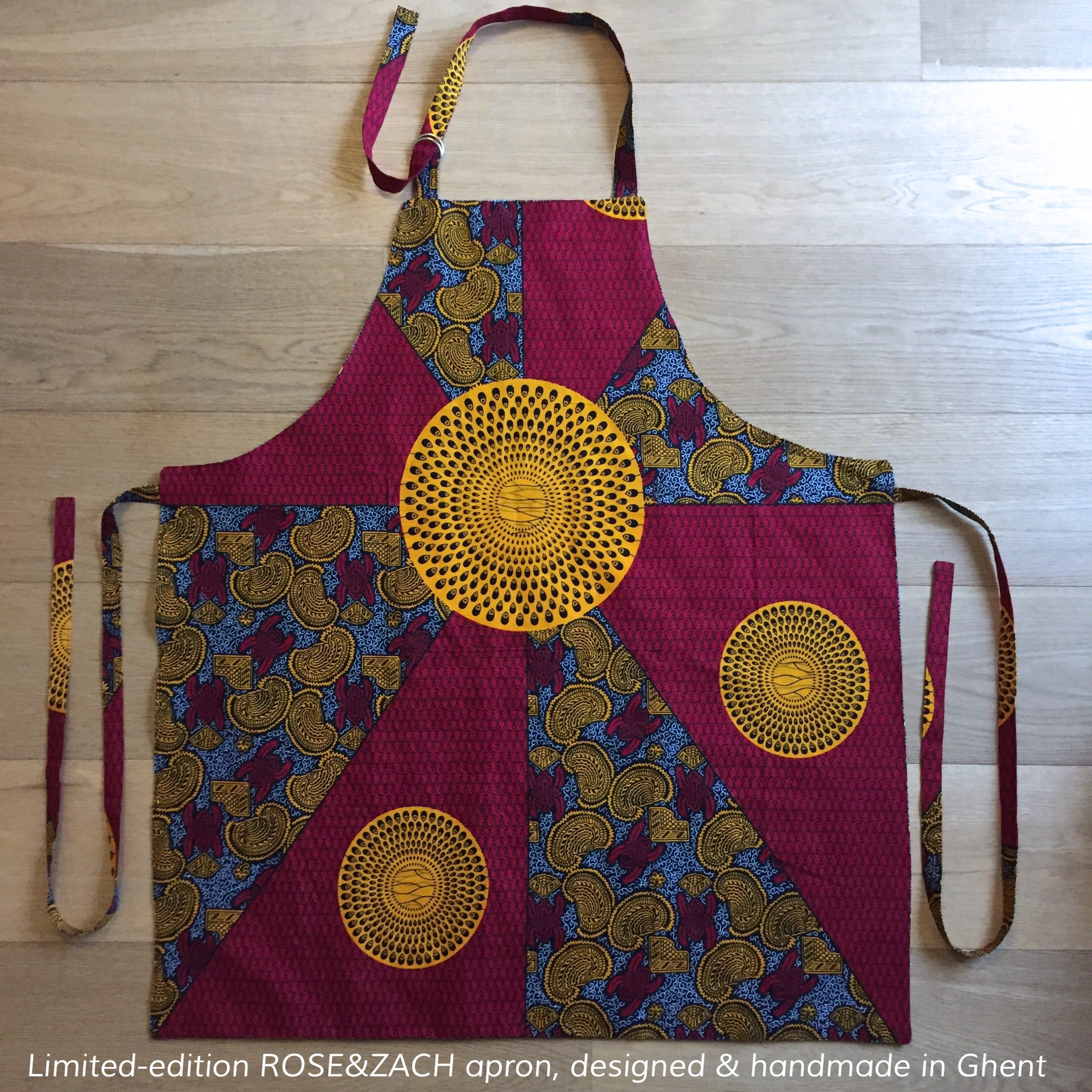 Apron 'double-sided' - Red and Yellow Wax Print