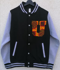 Black / Heather Grey 'UMOJA' Varsity Jacket