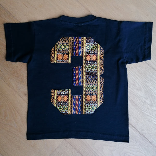 Kids T-shirt '3' - Wax Print