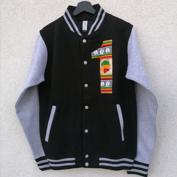 Black / Heather Grey '1' Varsity Jacket