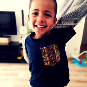 Navy T-shirt Kids - Colourful Wax Pocket
