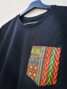 Black T-shirt Men - Hand-stitched Wax Pocket