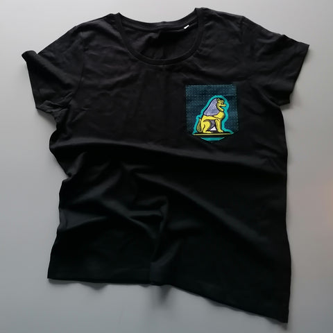 Black T-shirt 'LION' Green