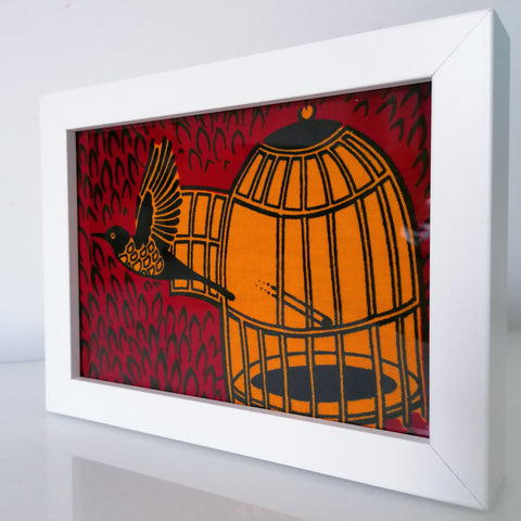 "Colourful Frame ""FREE BIRD"" - African Print"