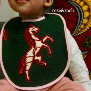 "Colourful Baby Bib - ""Jumping horse"" Print"