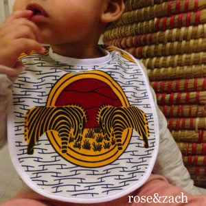 "Colourful Baby Bib - ""Grazing Zebras"" print"
