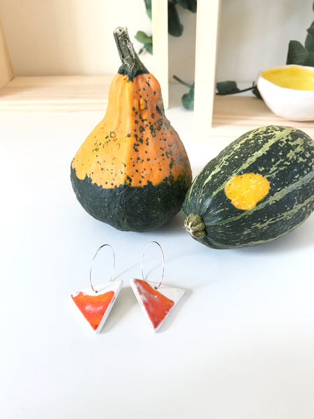 Triangular Drop Earring - Lava Orange