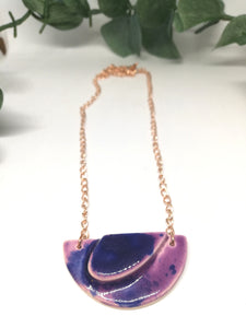 Small Half Moon Abstract Purple Anemone Necklace