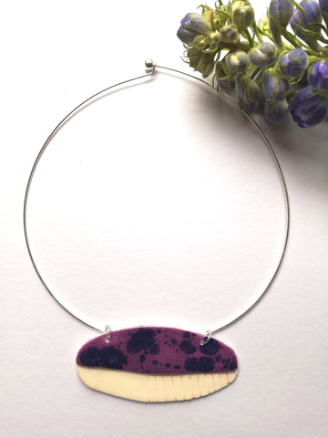 Abstract Torc Pendant Anemone Purple