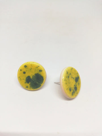 Electric Yellow Sterling Silver Stud