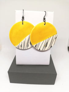 Canary Yellow & Black Line Geo Print Circle Drop Earring