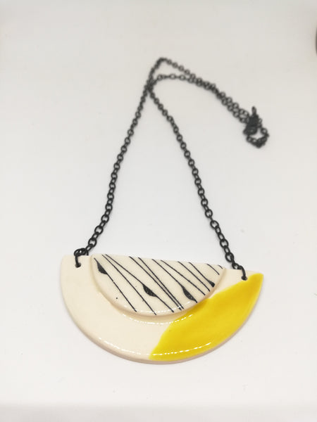 Half Moon & Sun Canary Yellow with Black Line Geo Print Necklace