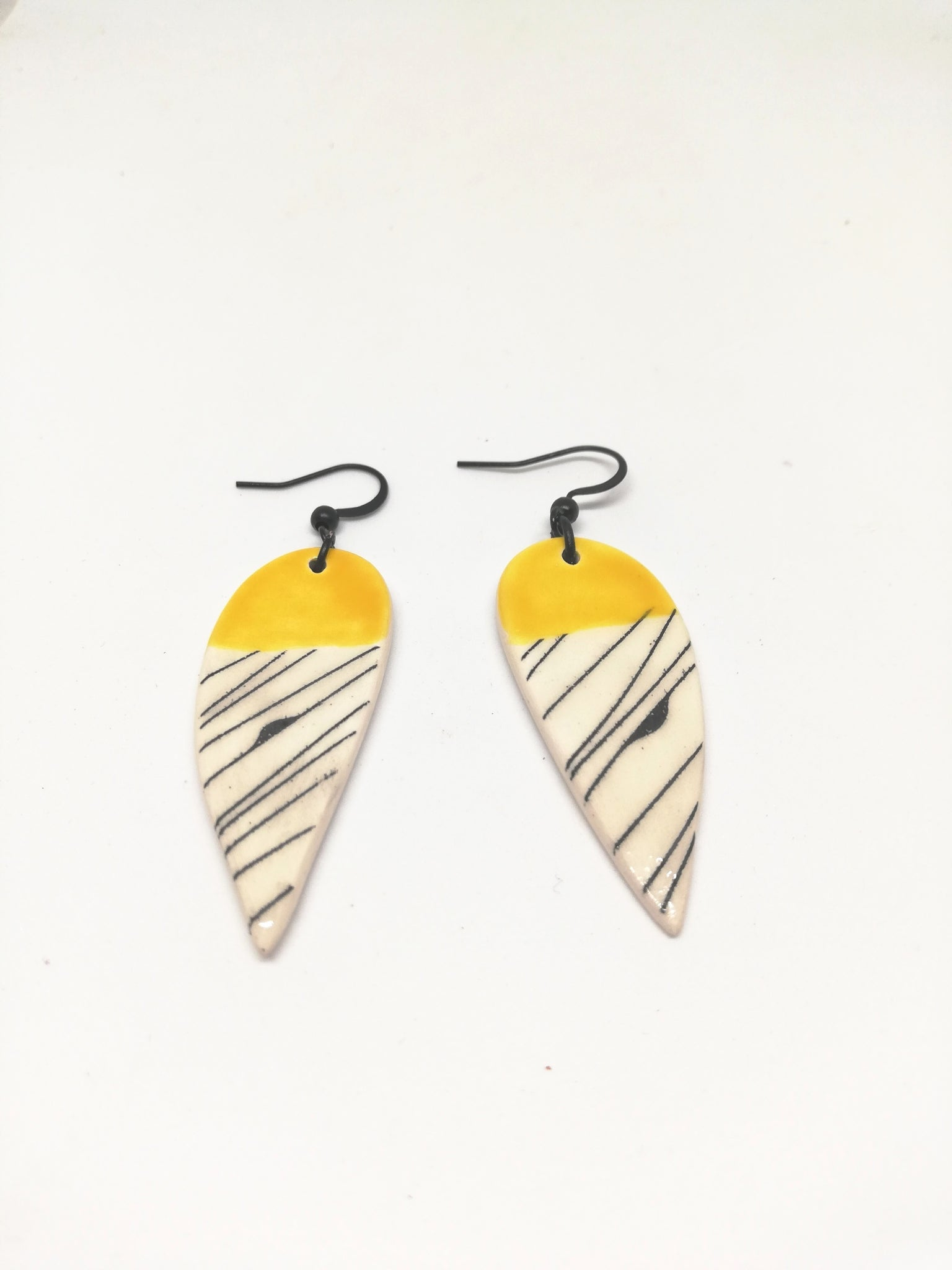 Raindrop Canary Yellow with Black Line Geo Print Drop Earring