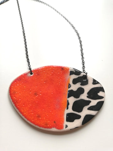 Lava & Black Animal Print Oval Necklace