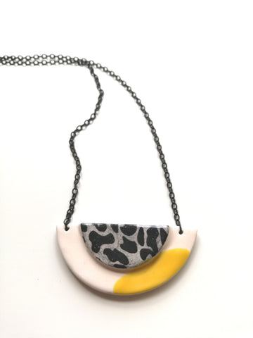Half Moon & Sun Yellow with Black Animal Print Necklace