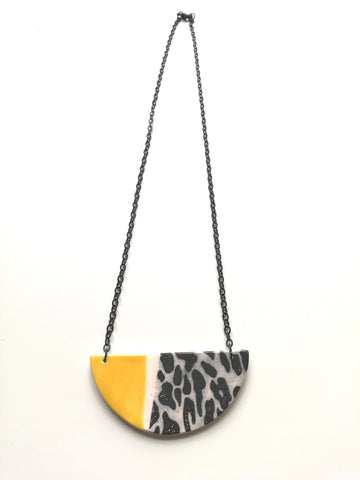 Half Moon Yellow & Black Animal Print Necklace