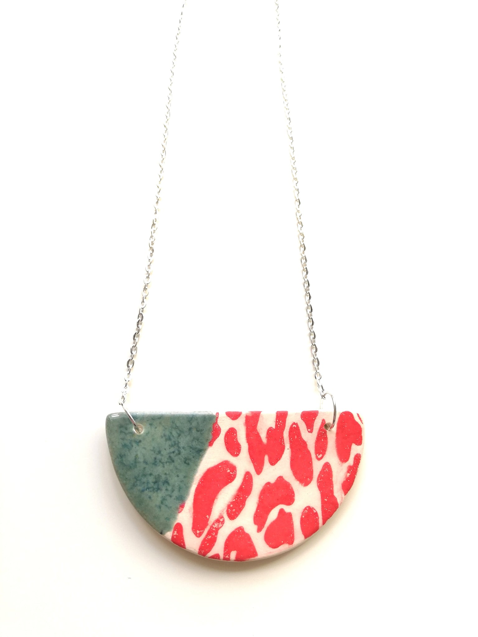 Half Moon Speckled Green with Red Animal Print Necklace