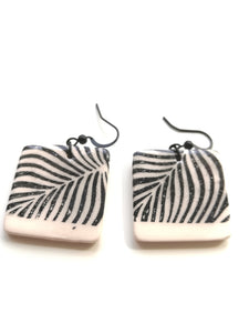 Square Black Animal Stripe Print Drop Earring