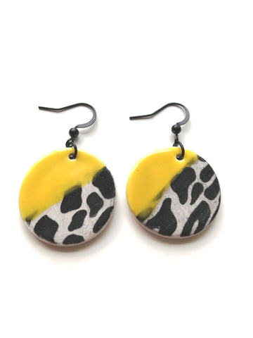 Circular Drop Earring with Yellow and Black Animal Stripe Print