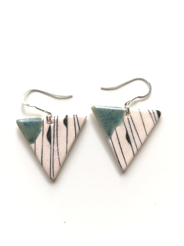 Speckled Green & Black Geo Print Triangular Drop Earring