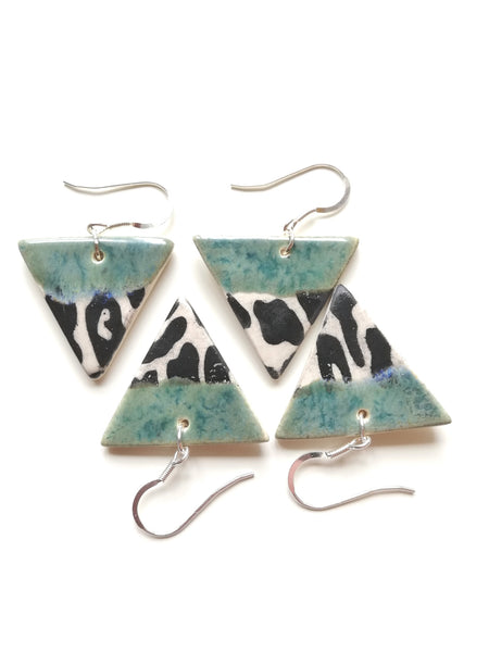 Triangular Drop Earring - Speckled Green & Black Animal Print