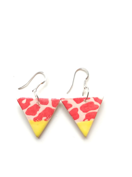Yellow & Red Animal Print Triangular Drop Earring