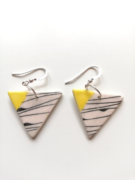 Yellow & Black Geo Print Triangular Drop Earring