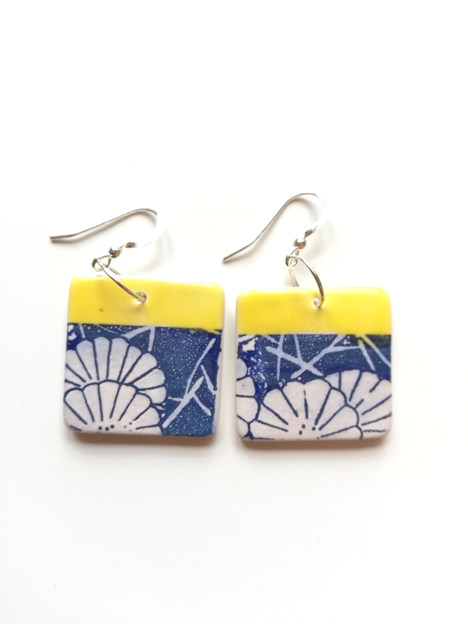 Yellow & Blue Japanese Floral Printed Square Drop Earrings