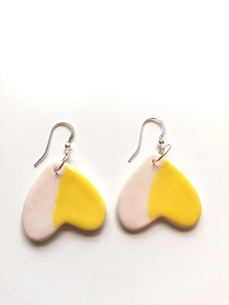 Sweetheart Yellow & White Drop Earrings
