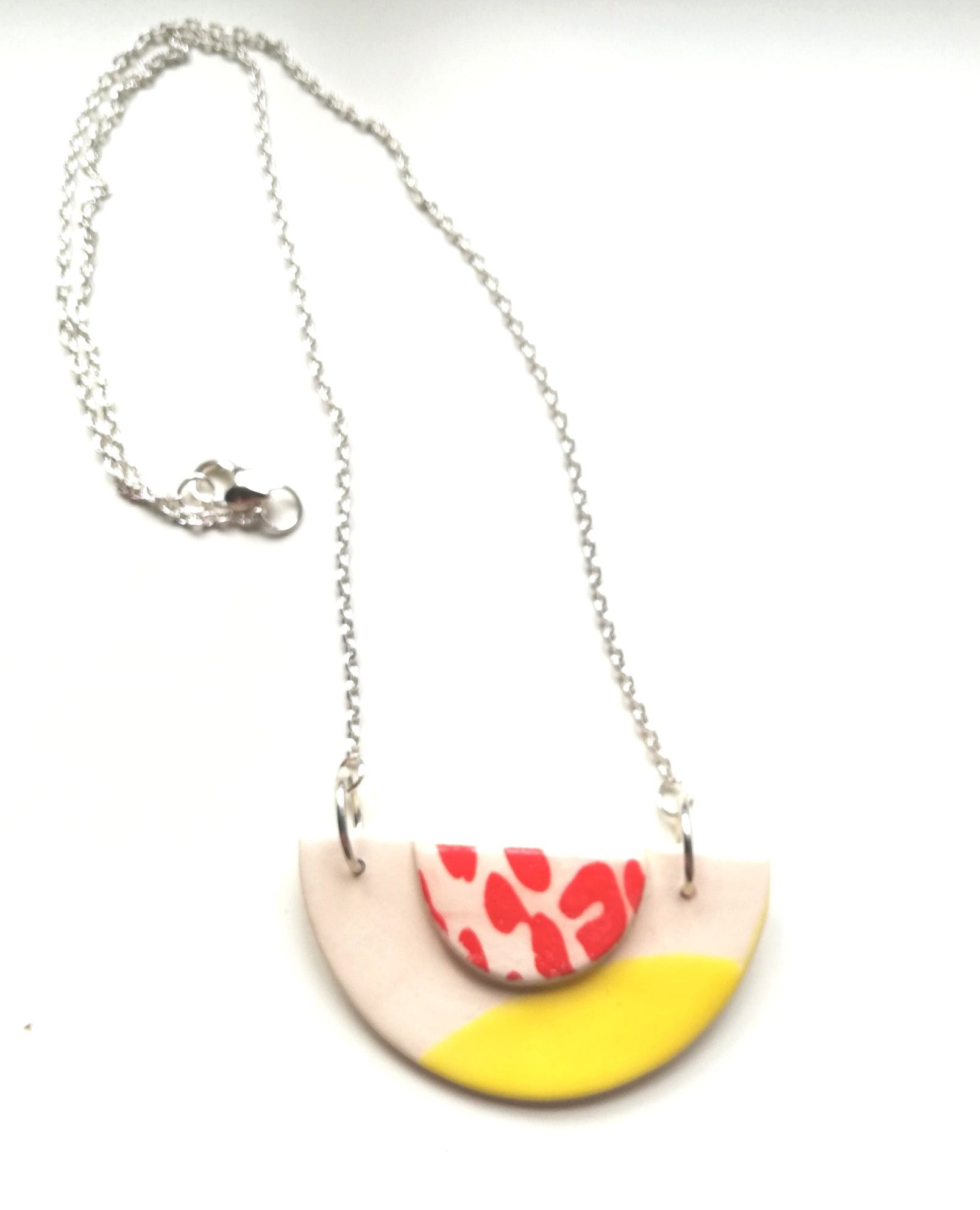 Half Moon & Sun Yellow with Red Animal Print Necklace