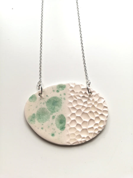 Oval Abstract Necklace with Morning Dew Glaze and Rockpool Texture