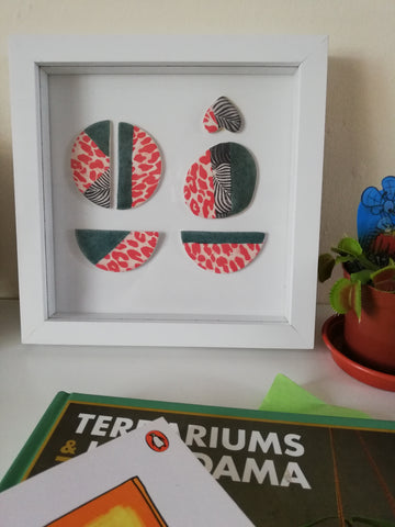 Square Framed Ceramic Mint Green & Red Animal Print