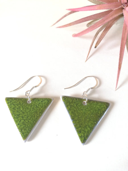 Triangular Drop Earring - Forest Moss Green