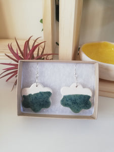 Speckled Green & White Cloud Drop Earring