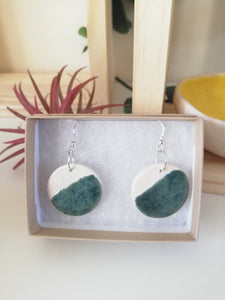 Speckled Green & White Circular Drop Earring