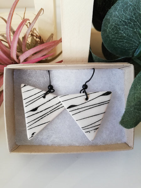 Triangle Geo Print Drop Earring