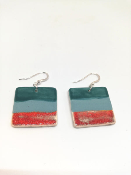 Square Drop Earring -Peacock Blue Strip & Lava Red