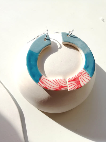 Peacock Blue Stripe & Red Print Drop Earring